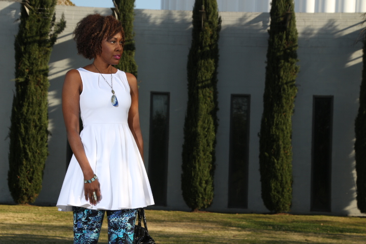wearing a top as a dress white dress with floral capri pants